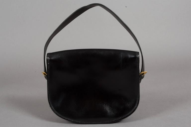 Hermes Black Box Leather Balle de Golf Flap Bag With Gold Hardware, c. 1972 3