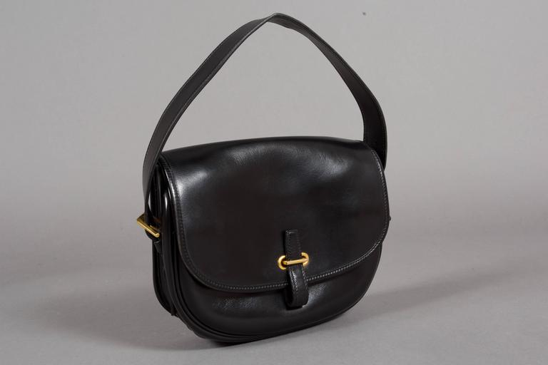 Hermes Black Box Leather Balle de Golf Flap Bag With Gold Hardware, c. 1972 2