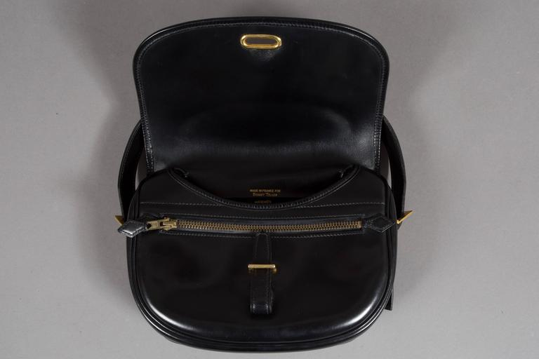 Hermes Black Box Leather Balle de Golf Flap Bag With Gold Hardware, c. 1972 5