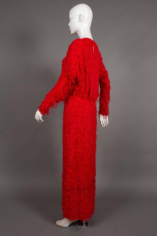 Chloé red fringed silk evening dress, C. 2014 For Sale 1