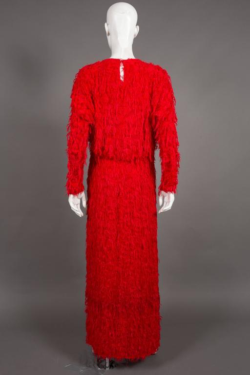 Chloé red fringed silk evening dress, C. 2014 For Sale 2