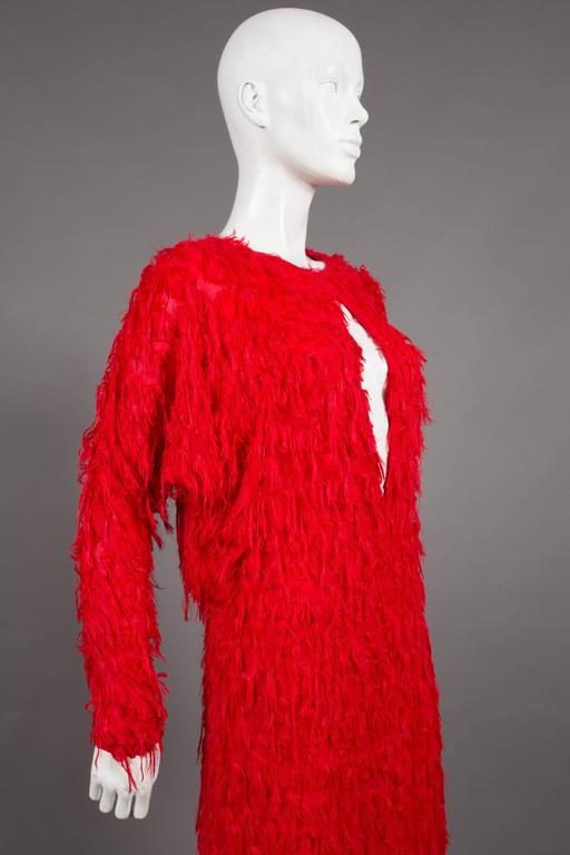 Chloé red fringed silk evening dress, C. 2014 In Excellent Condition For Sale In London, GB