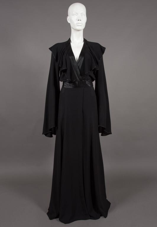 Ossie Clark couture black moss crêpe wrap around evening dress, c. 1970 For Sale 1