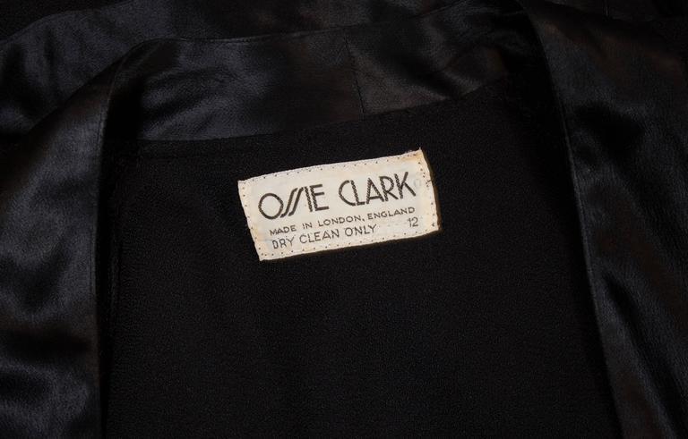 Ossie Clark couture black moss crêpe wrap around evening dress, c. 1970 For Sale 4