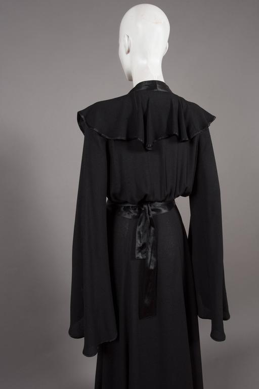 Ossie Clark couture black moss crêpe wrap around evening dress, c. 1970 For Sale 2
