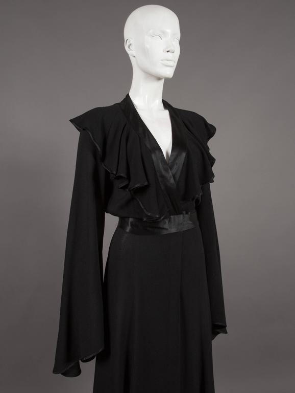 Black Ossie Clark couture black moss crêpe wrap around evening dress, c. 1970 For Sale