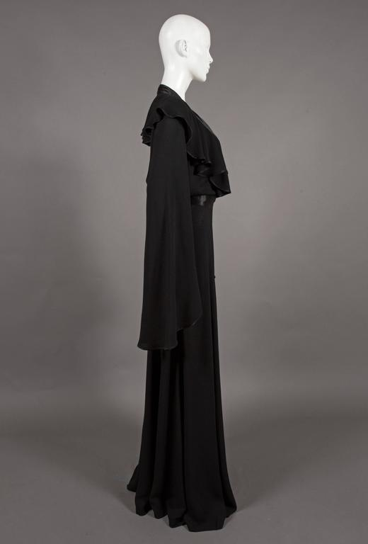 Ossie Clark couture black moss crêpe wrap around evening dress, c. 1970 In Good Condition For Sale In London, GB