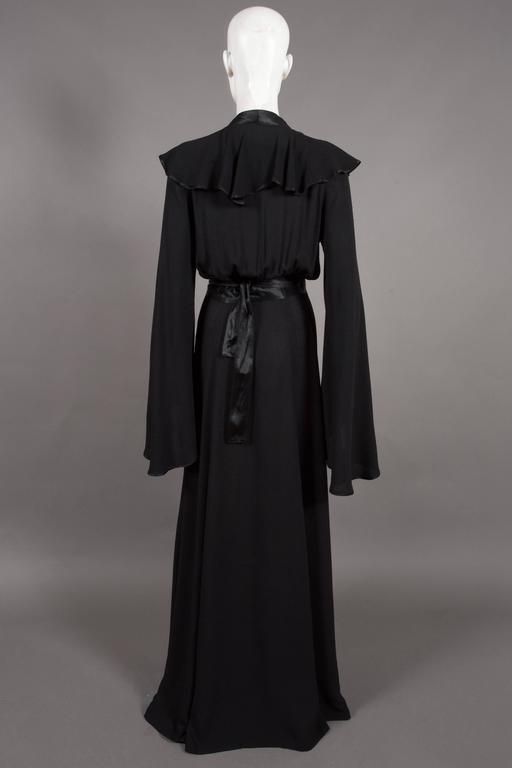 Women's Ossie Clark couture black moss crêpe wrap around evening dress, c. 1970 For Sale