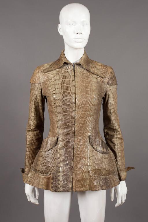 Brown Ossie Clark snakeskin jacket, c. 1967 For Sale