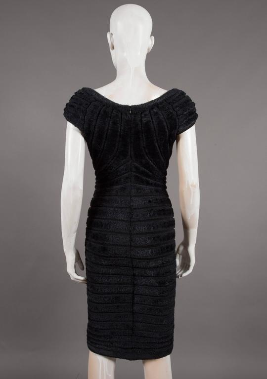Women's Alaïa black chenille-knitted evening gown, 'Houpette', C. 1994 For Sale