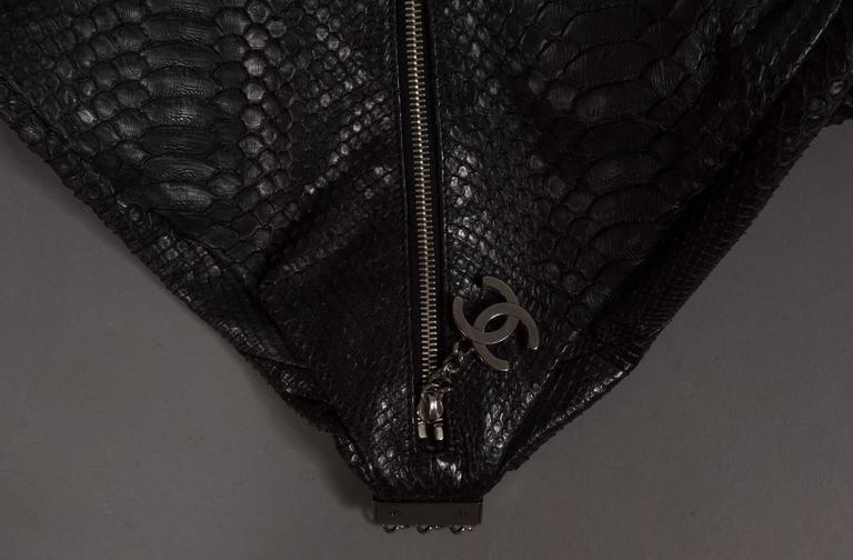 Chanel Large Black King Python Hobo Bag, c. 2007 For Sale 2
