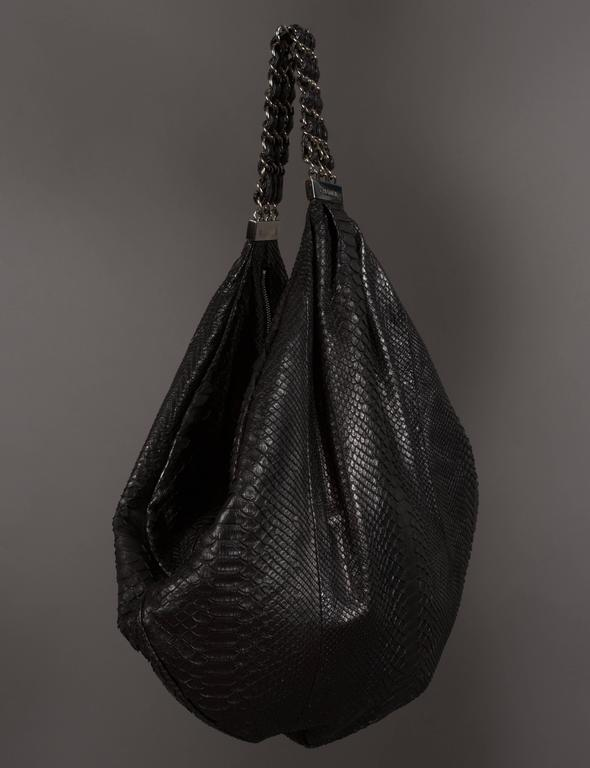 Women's or Men's Chanel Large Black King Python Hobo Bag, c. 2007 For Sale
