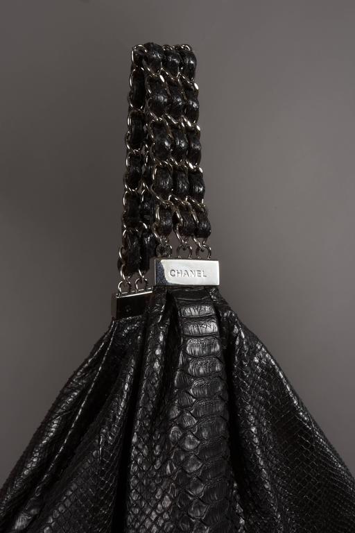 Chanel Large Black King Python Hobo Bag, c. 2007 In Excellent Condition For Sale In London, GB