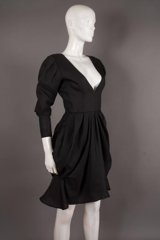 Black Yves Saint Laurent silk organza tulip dress, Circa 1993 For Sale