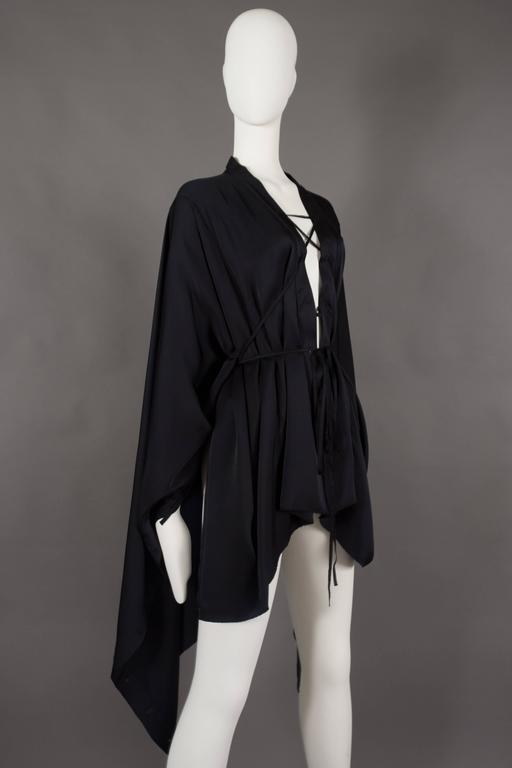 Gucci by Tom Ford black silk evening lace up poncho blouse, circa 2002 In Excellent Condition For Sale In London, GB
