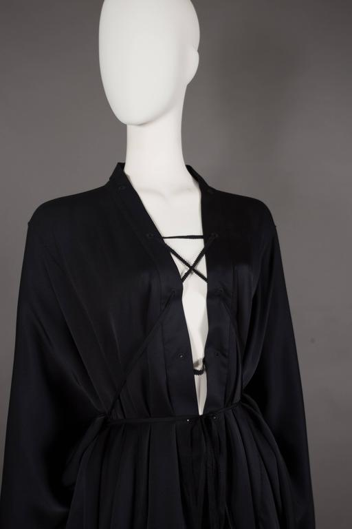 Gucci by Tom Ford black silk evening lace up poncho blouse, circa 2002 For Sale 3