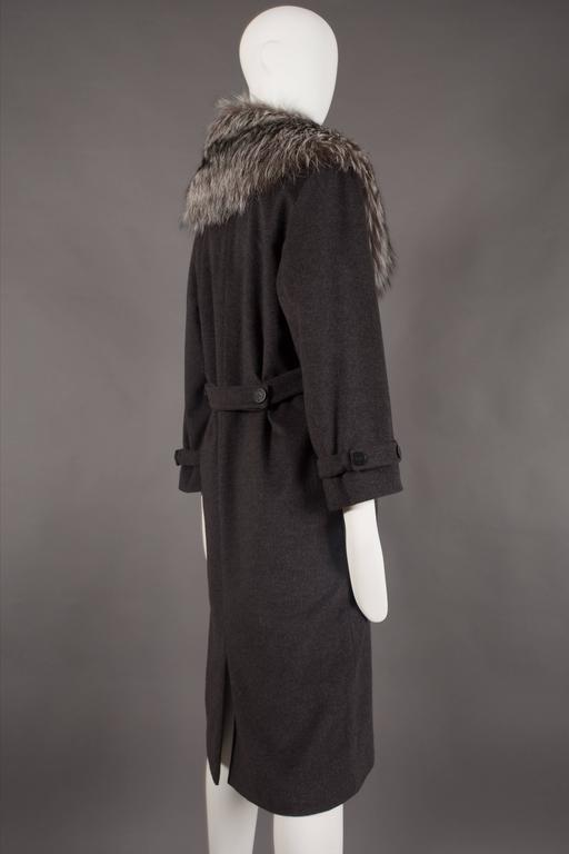Yves Saint Laurent cashmere fall coat with fox fur collar, circa 1990 For Sale 1