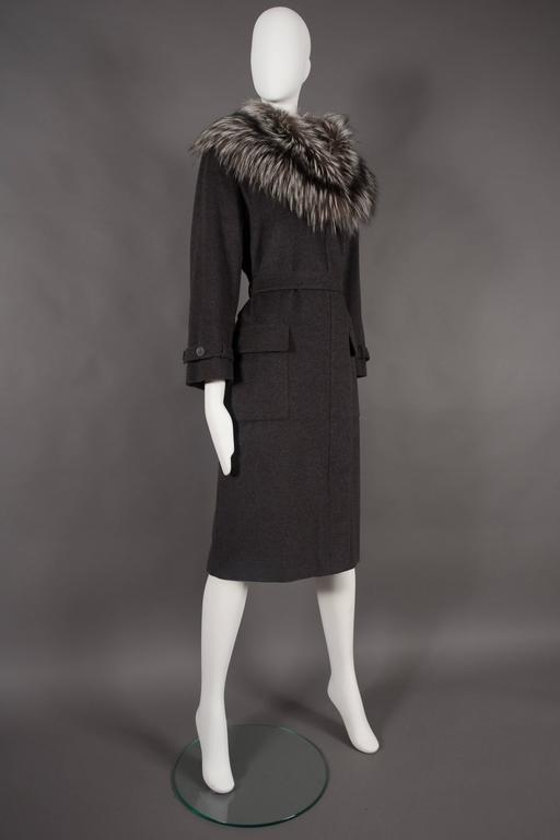 Yves Saint Laurent cashmere fall coat with fox fur collar, circa 1990 In Excellent Condition For Sale In London, GB