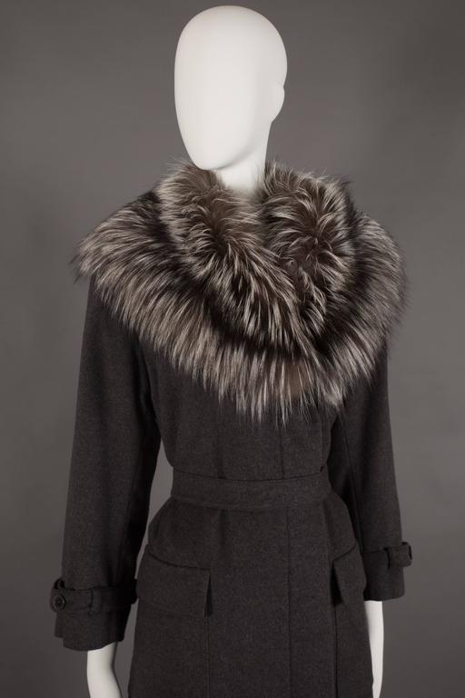 Yves Saint Laurent Cashmere Fall Coat With Fox Fur Collar