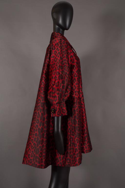 Jaques Fath red leopard print evening silk swing coat, circa 1992 3