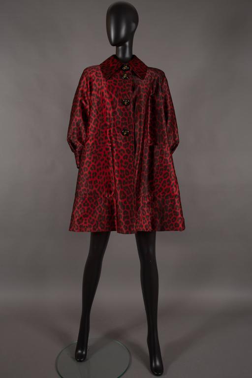 Jaques Fath red leopard print evening silk swing coat, circa 1992 6