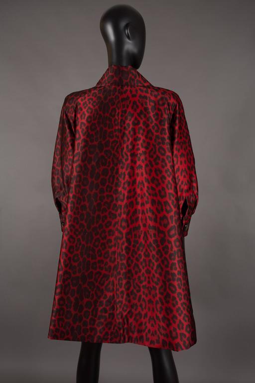 Jaques Fath red leopard print evening silk swing coat, circa 1992 7