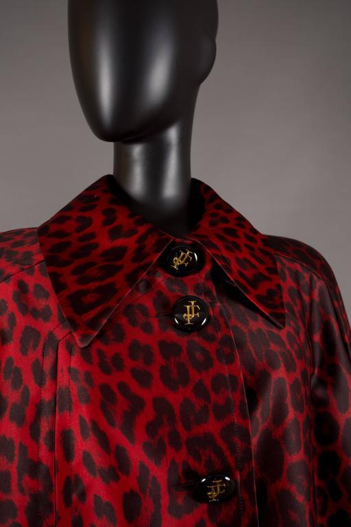 Jaques Fath red leopard print evening silk swing coat, circa 1992 8