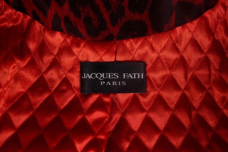 Jaques Fath red leopard print evening silk swing coat, circa 1992 9