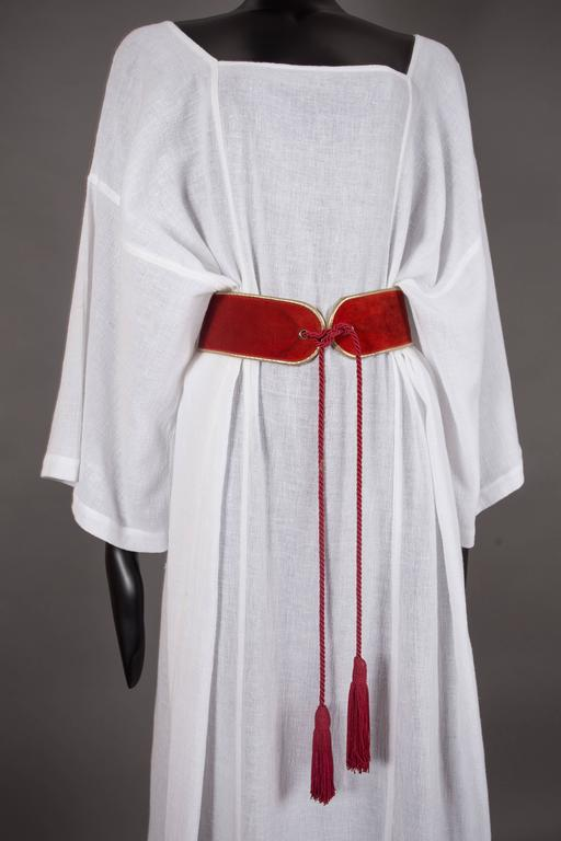 Yves Saint Laurent white cheesecloth Moroccan caftan ensemble, circa 1976 In Excellent Condition For Sale In London, GB