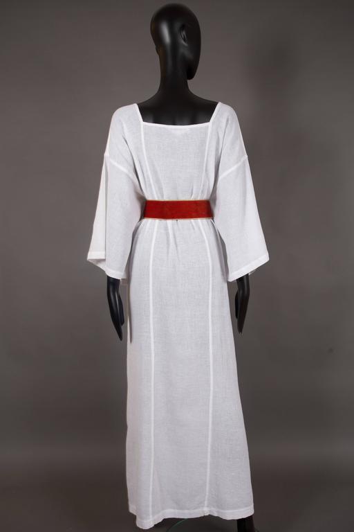 Women's Yves Saint Laurent white cheesecloth Moroccan caftan ensemble, circa 1976 For Sale