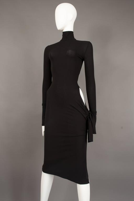 Dolce & Gabbana black bodycon evening dress with cut out, circa 2001 For Sale 3