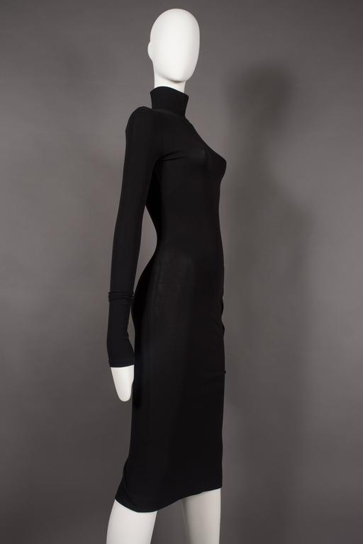 Dolce & Gabbana black bodycon evening dress with cut out, circa 2001 For Sale 4