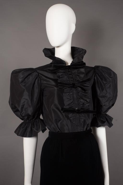 Yves Saint Laurent silk taffeta and velvet evening ensemble, circa 1977-78 For Sale 1