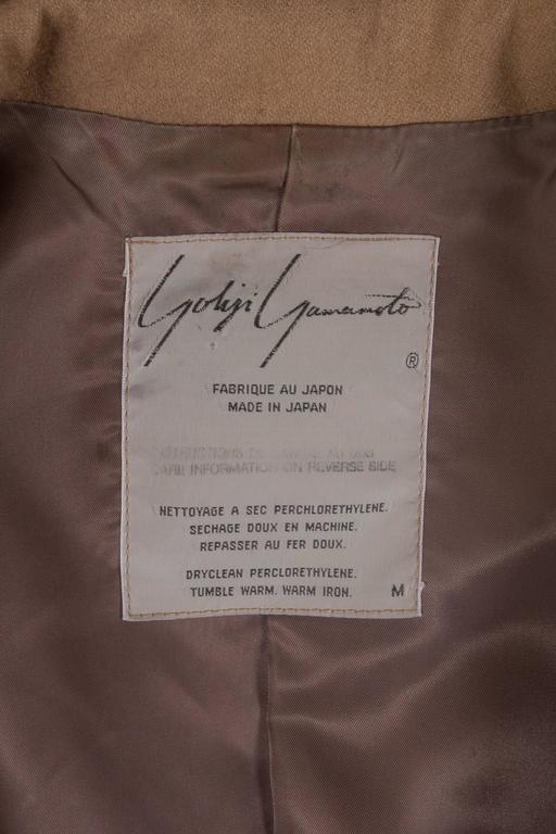 Yohji Yamamoto POUR HOMME camel pleated blazer, circa 1984-87 For Sale 4