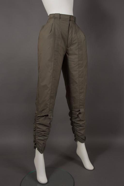 Issey Miyake olive green ruched sports pants, circa 1983 In Excellent Condition For Sale In London, GB