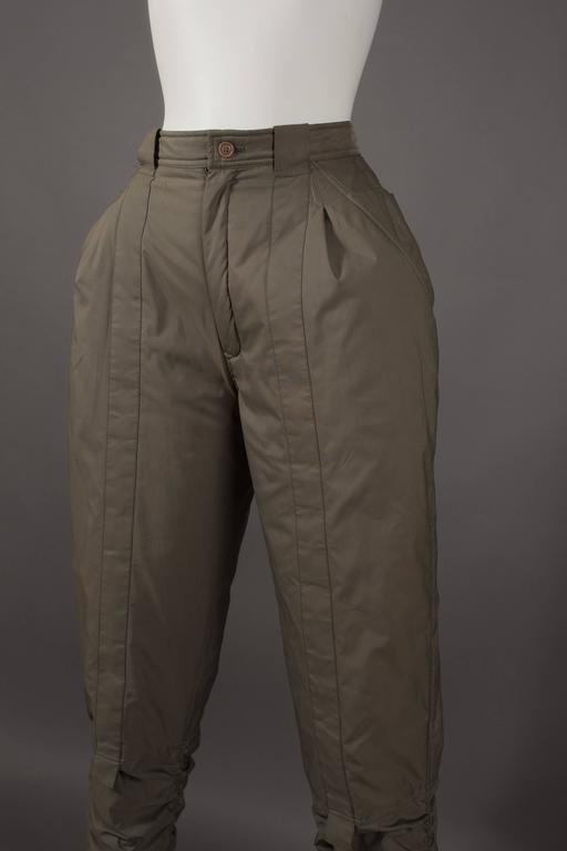 Black Issey Miyake olive green ruched sports pants, circa 1983 For Sale