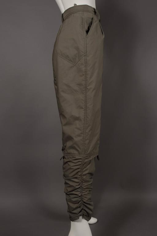 Women's Issey Miyake olive green ruched sports pants, circa 1983 For Sale