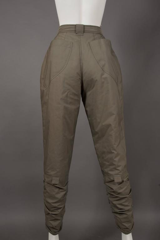 Issey Miyake olive green ruched sports pants, circa 1983 For Sale 1