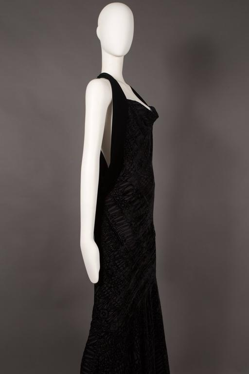Black Alexander McQueen backless silk devore bias cut evening dress, circa 2004 For Sale