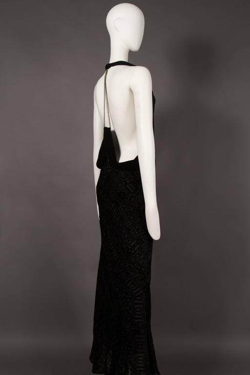 Alexander McQueen backless silk devore bias cut evening dress, circa 2004 In Excellent Condition For Sale In London, GB