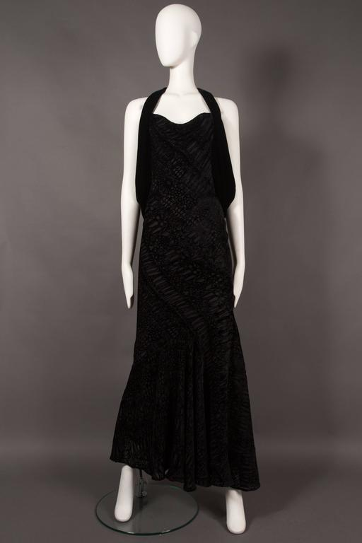 Women's Alexander McQueen backless silk devore bias cut evening dress, circa 2004 For Sale