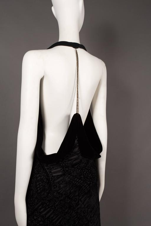 Alexander McQueen backless silk devore bias cut evening dress, circa 2004 For Sale 1