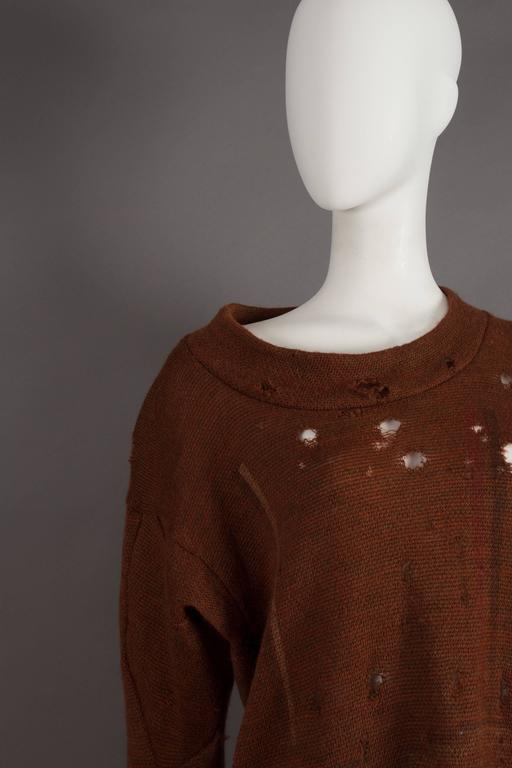 Black Worlds End by Westwood and McLaren asymmetric knitted sweater, circa 1981 For Sale