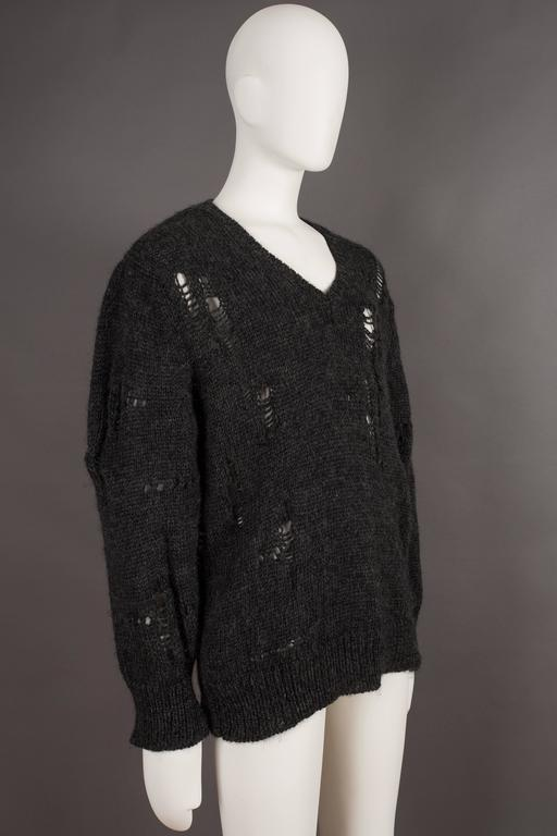 Comme des Garcons oversized sweater decorated with holes, circa 1982 For Sale 4
