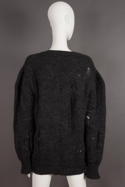 Comme des Garcons oversized sweater decorated with holes, circa 1982 For Sale 2