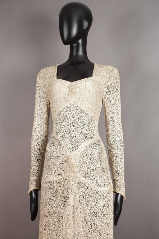 Brown Ann Dawson metallic ivory lame lace knit evening dress, circa 1930s For Sale
