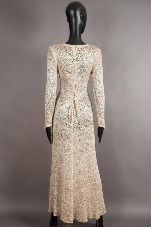Women's Ann Dawson metallic ivory lame lace knit evening dress, circa 1930s For Sale