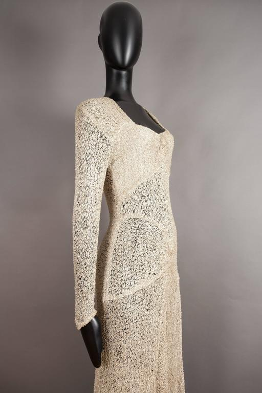 Ann Dawson metallic ivory lame lace knit evening dress, circa 1930s For Sale 1