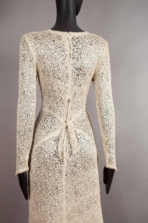 Ann Dawson metallic ivory lame lace knit evening dress, circa 1930s For Sale 2