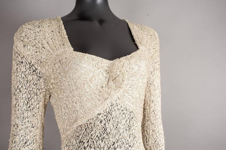 Ann Dawson metallic ivory lame lace knit evening dress, circa 1930s In Excellent Condition For Sale In London, GB